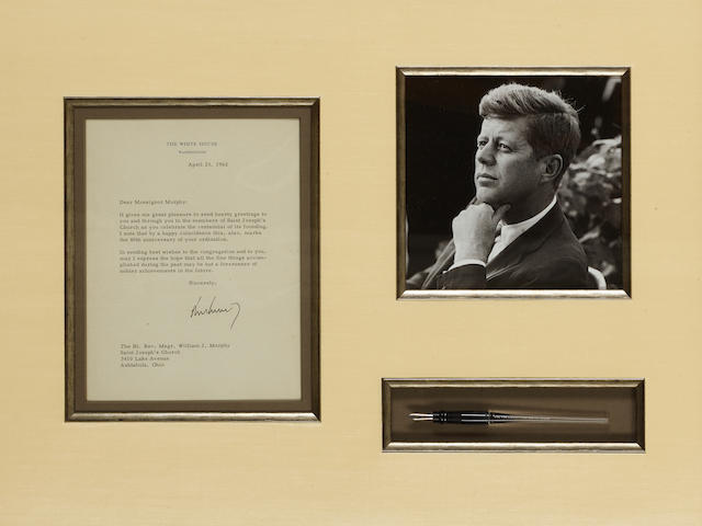JOHN F. KENNEDY CREATES THE PEACE CORPS. Steel-nibbed pen by Esterbrook,