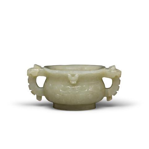 A celadon jade archaistic gui-form incense burner