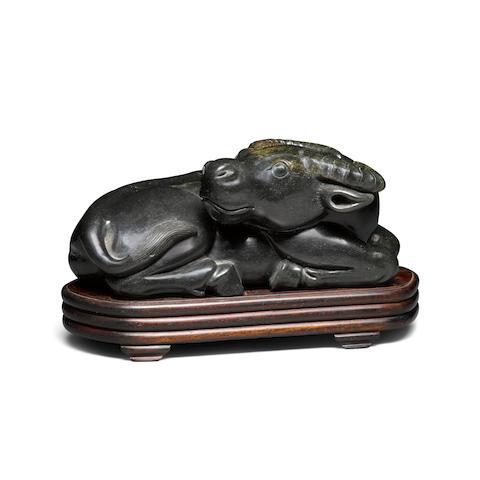 A black jade recumbent water buffalo