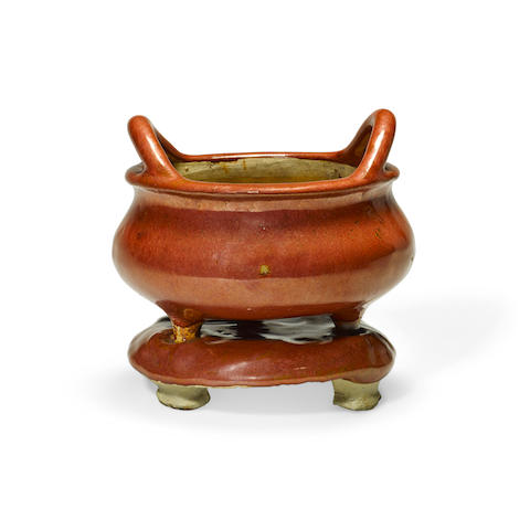 A red glazed earthenware censer and base  Late Qing/Republic period (2)