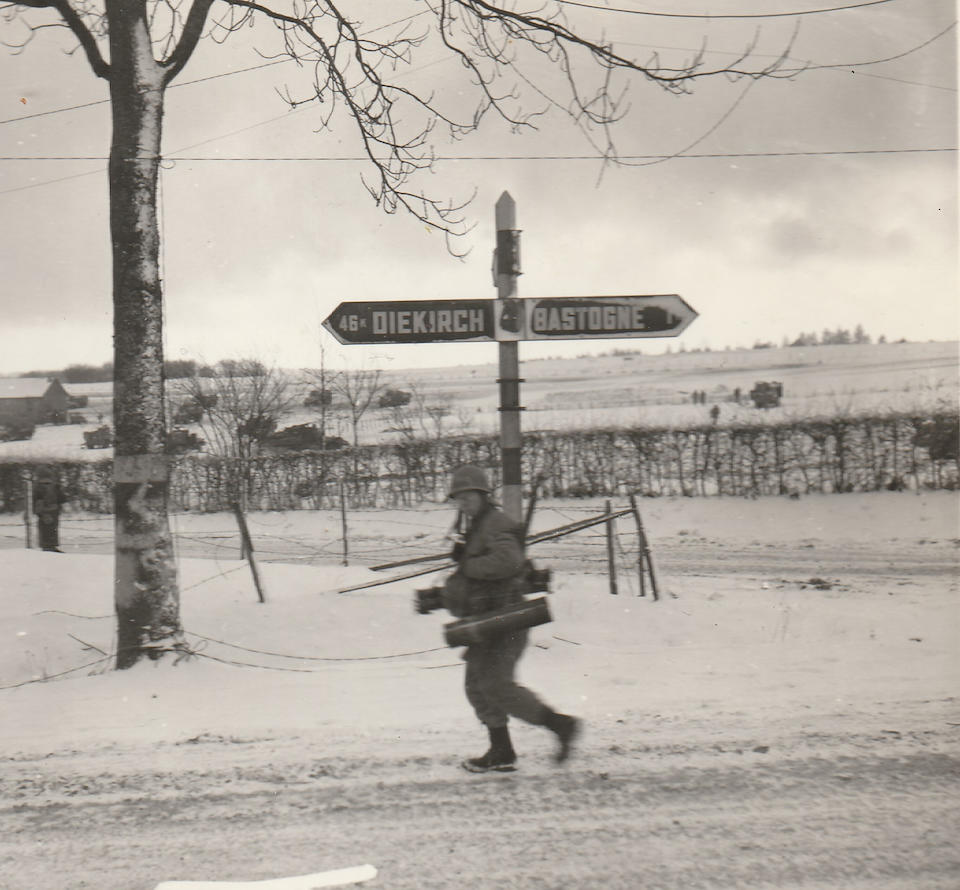 BATTLE OF BASTOGNE: A UNIQUE PAIR OF ROAD SIGNS FROM A CRUCIAL CROSS-ROADS OUTSIDE BASTOGNE. Belgium made: Damaged in the Battle for Bastogne, December 1944 - January 1945.