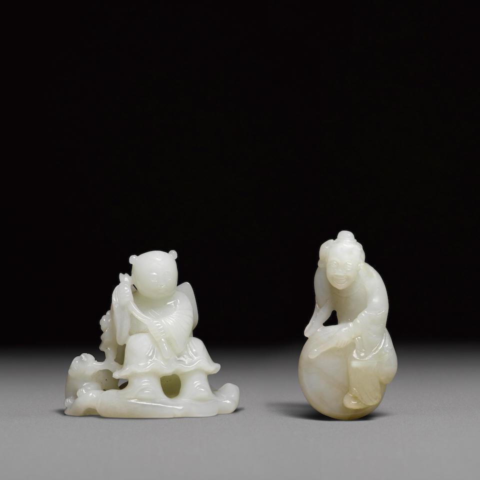 Two jade figural carvings (2)