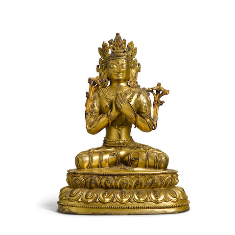 A Sino-Tibetan Gilt-bronze Figure of Manjusri Qing dynasty