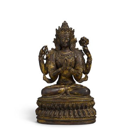 A Sino-Tibetan Gilt-Bronze Figure of Four-Armed Avalokiteshvara, Chenrizig or Shadakshari Qing dynasty