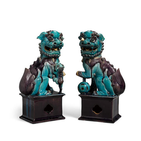 A Pair of Turquoise and Aubergine-Glazed Buddhistic Lions Qing dynasty, 19th century (2)