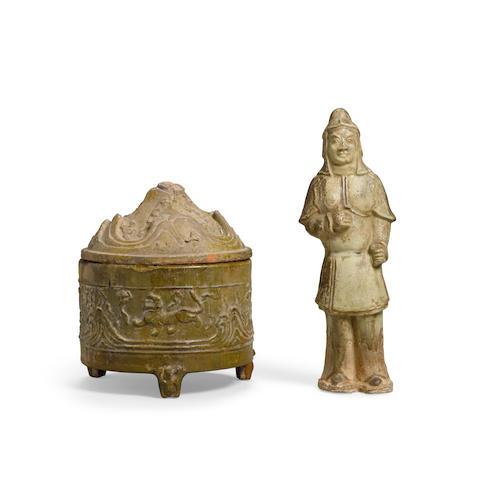 Two glazed pottery objects (3)
