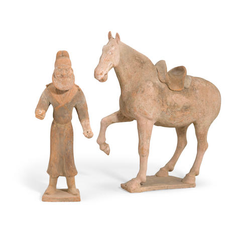 Painted Pottery Figures of a Horse and Groom
