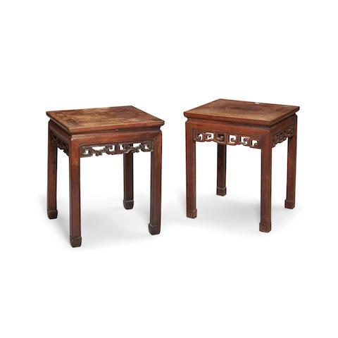 Two similar mixed hardwood stools Qing dynasty elements (2)