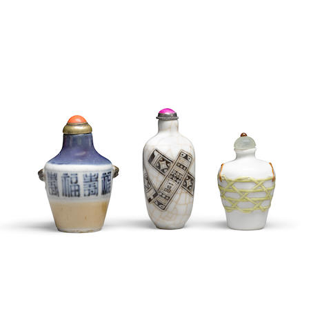 Three porcelain snuff bottles 19th/early 20th century (3)