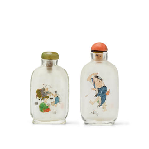 TWO INSIDE-PAINTED GLASS SNUFF BOTTLES 20th century (2)