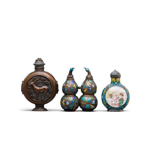 Three metal snuff bottles Late 19th/20th century (3)