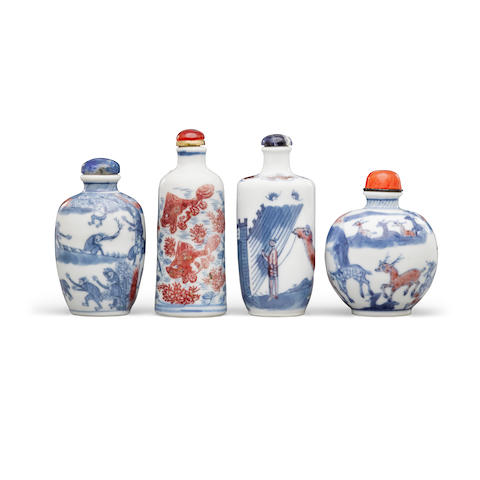 Four underglaze blue and copper-red decorated porcelain snuff bottles 19th century and later (4)