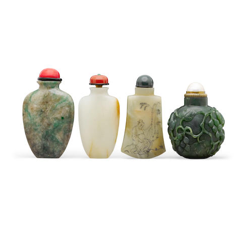 Four jade snuff bottles 19th century and later (4)