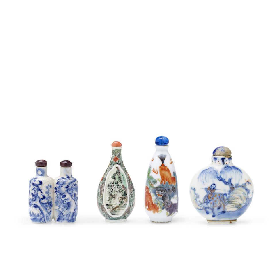 FOUR PORCELAIN SNUFF BOTTLES 18th/19th century (4)
