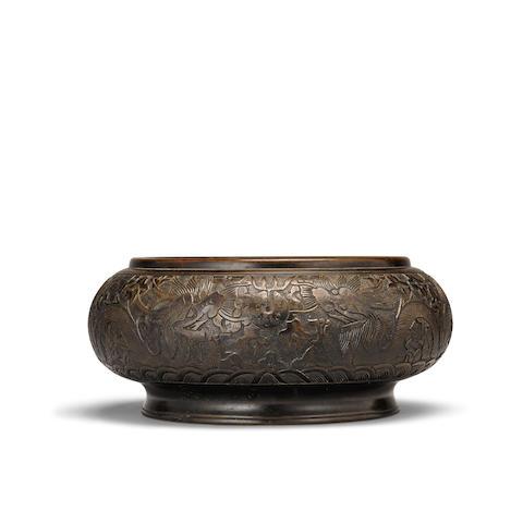 A cast bronze incense burner Xuande mark, Qing dynasty