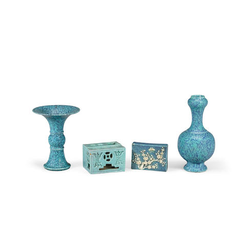 A group of four robin's egg blue miniature porcelains  19th/20th century (4)