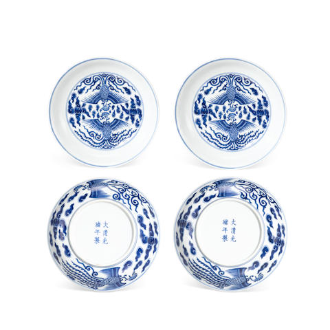 A pair of blue and white phoenix bowls Guangxu six-character marks and of the period (2)