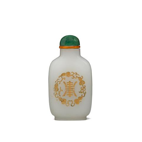 A white jade 'longevity' snuff bottle Early 20th century