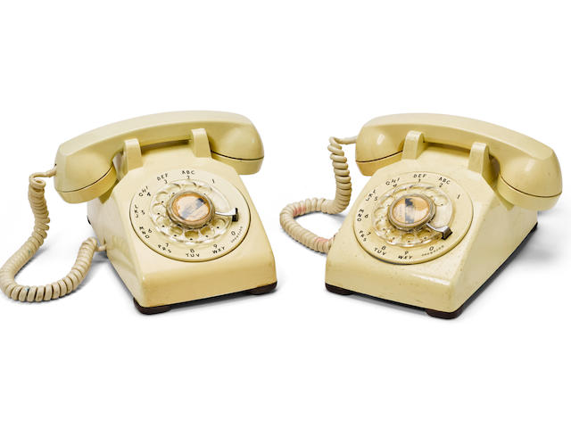 JOHN F. KENNEDY'S FINAL CALL. A pair of rotary telephones from the Presidential Suite of the Hotel Texas in Fort Wort