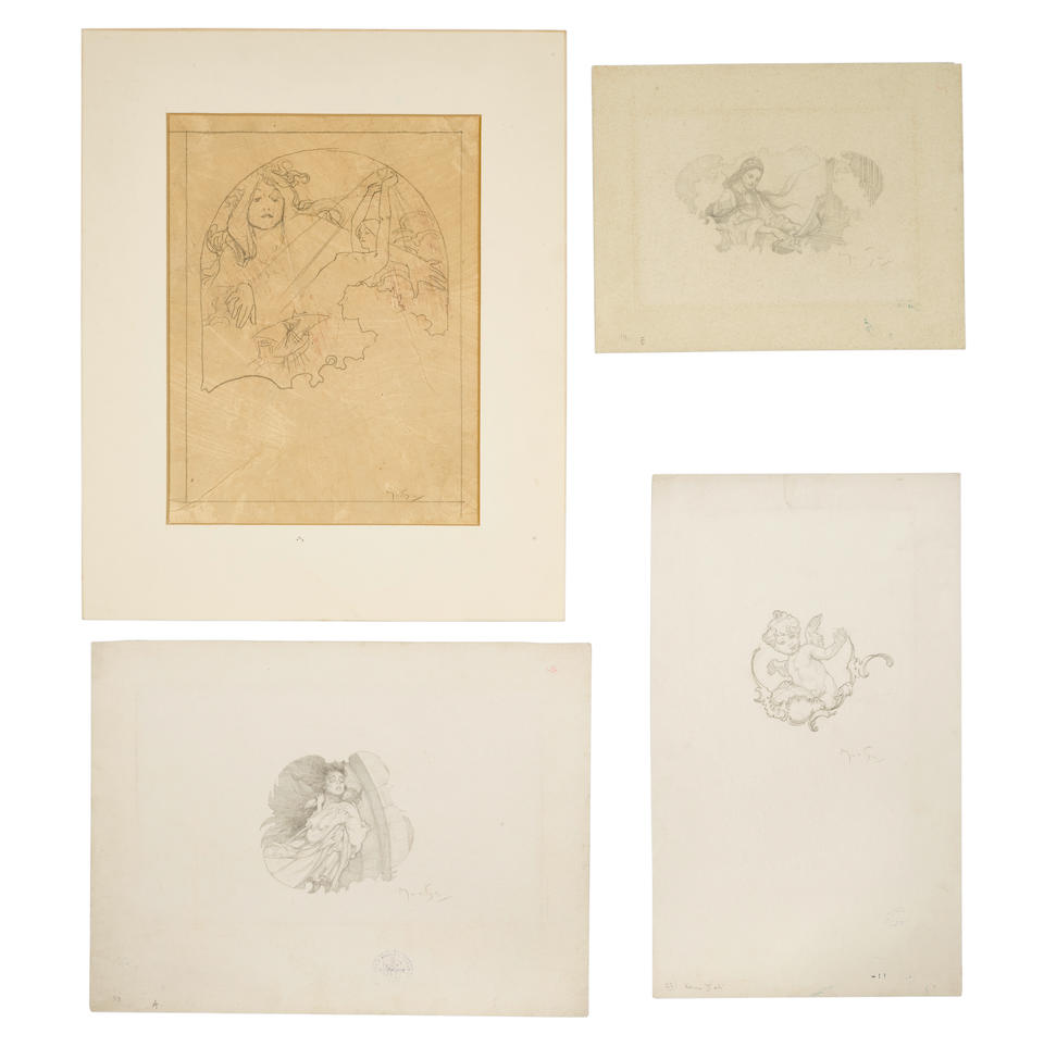 "ORIGINAL DRAWINGS BY ALPHONSE MUCHA. 11 original Alphonse Mucha pencil drawings all signed by Mucha for Andelicek z Baroku, ""Litte Baroque Angel"" Prague, 1929 (see previous lot)."