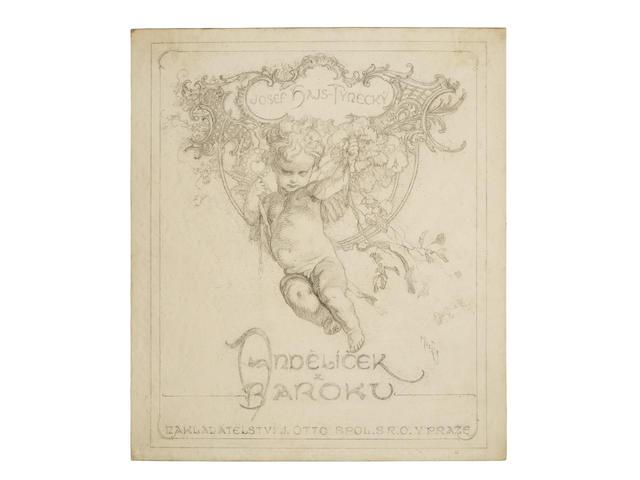 "ORIGINAL DRAWINGS BY ALPHONSE MUCHA. 11 original Alphonse Mucha pencil drawings all signed by Mucha for Andelicek z Baroku, ""Litte Baroque Angel"" Prague, 1929 (see previous lot)."