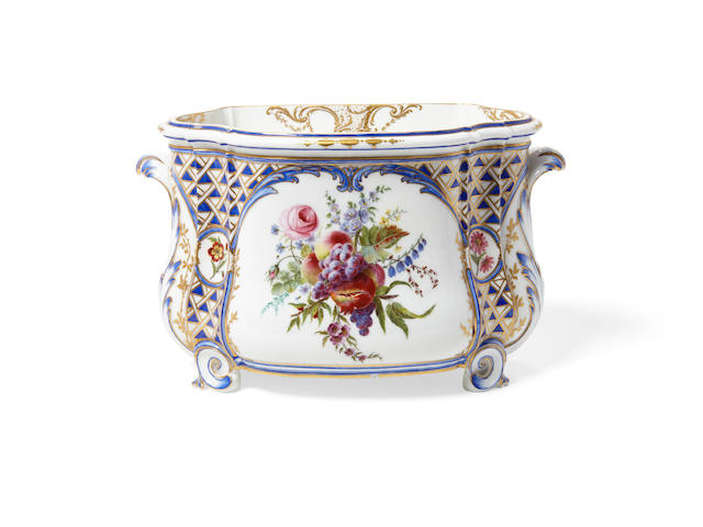 A Sèvres Polychromed and Gilt Soft Paste Porcelain Flower Vase Cuvette à Fleurs Courteille, 2ere Grandeur, Circa 1762