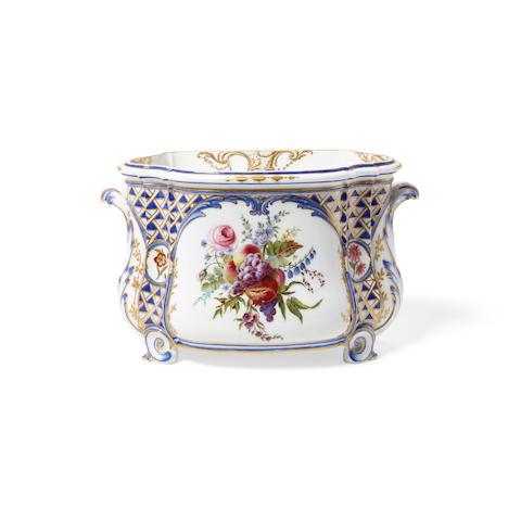 A Sèvres Polychromed and Gilt Soft Paste Porcelain Flower Vase Cuvette à Fleurs Courteille, 2ere Grandeur, Circa 1762