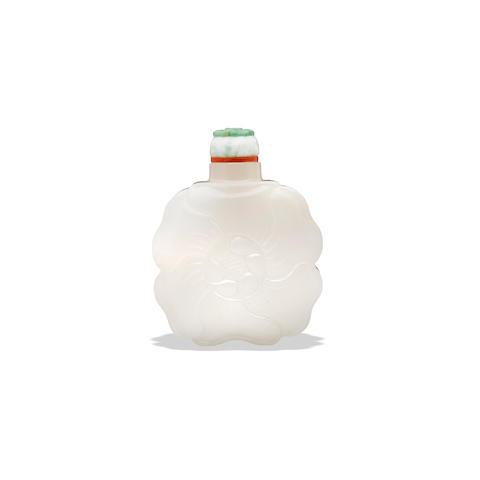 A white jade 'mallow flower' snuff bottle  20th century