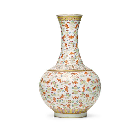A FAMILLE-ROSE AND IRON-RED 'ONE HUNDRED BATS' VASE Guangxu six-character mark and of the period