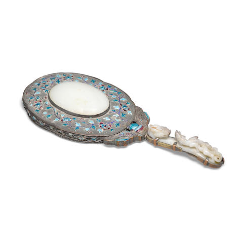 A jade-mounted hand mirror Qing dynasty elements