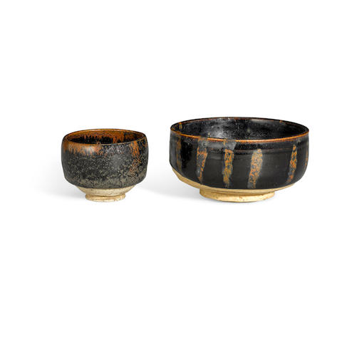 Two small Cizhou-type black glazed bowls with russet markings Northern Song/Jin dynasty (2)