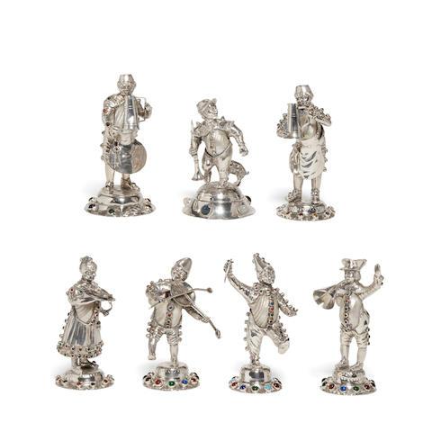 Seven German silver musicians Hanau marks, late 19th/early 20th century