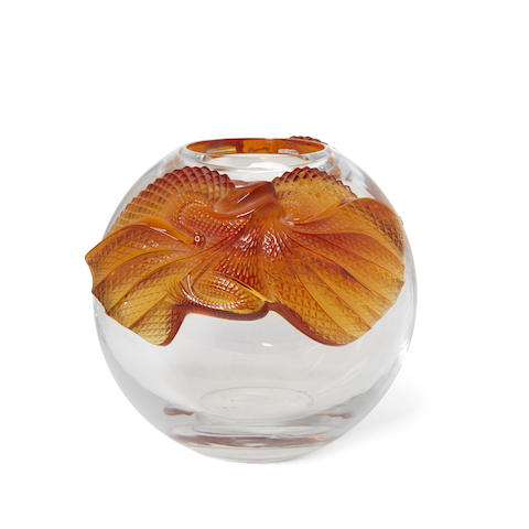 A René Lalique Molded and Frosted Glass Vase: Erimaki Late 20th/ early 21st centuryIncised Lalique France.height 8 1/2in (21.5cm); 10 1/2in (26.6cm); 9 1/2in (24.1cm)