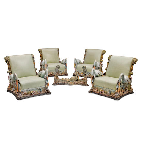 A Polychromed Carved Wood Five Piece Seating GroupCirca 1900