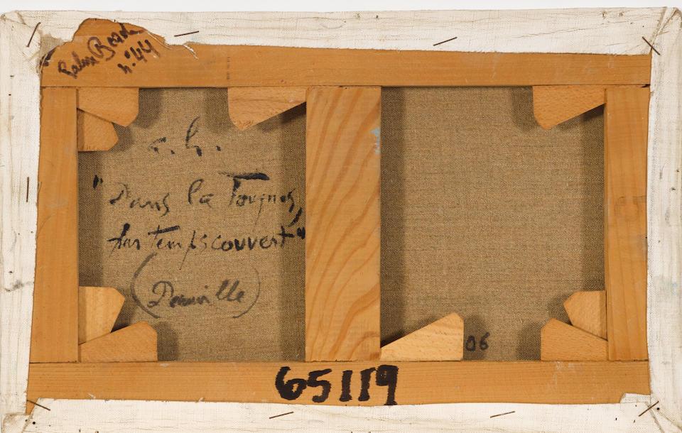 ANDRÉ  HAMBOURG (1909-1999) Dans la tauques par temps couvert (Deauville) 8 1/2 x 13 3/4 in (21.6 x 34.9 cm)