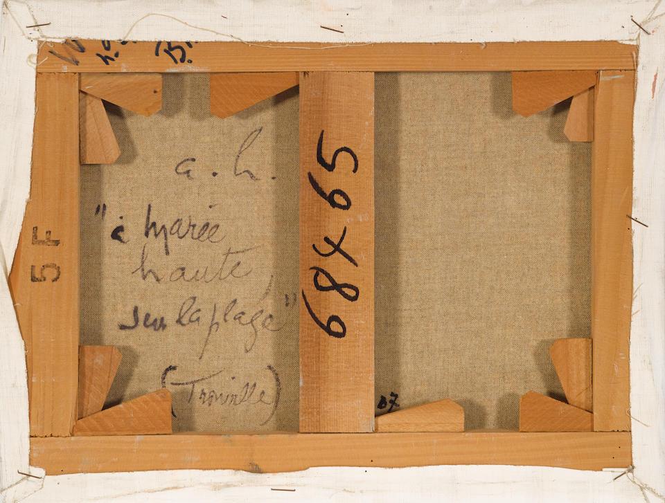 ANDRÉ  HAMBOURG (1909-1999) À Marée haute sur la plage (Trouville) 10 3/4 x 13 3/4 in (27.3 x 34.9 cm)