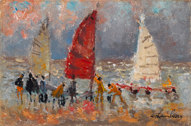 ANDRÉ  HAMBOURG (1909-1999) Les Chars à voile 5 x 7 in (12.7 x 17.8 cm) (Painted in January 1966)