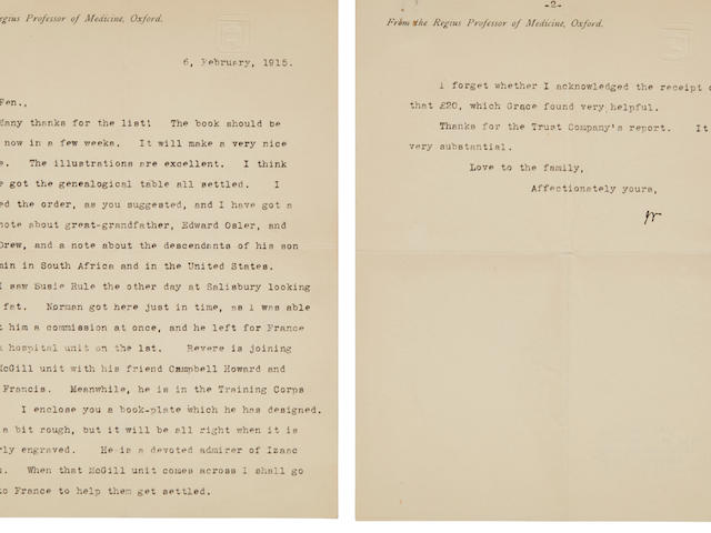 "OSLER, WILLIAM. 1849-1919. Typed Letter Signed (""Wm"") to Featherston ""Fen"" Osler,"