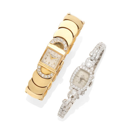 A Group of Two Diamond and Gold Lady's Bracelet Wristwatches