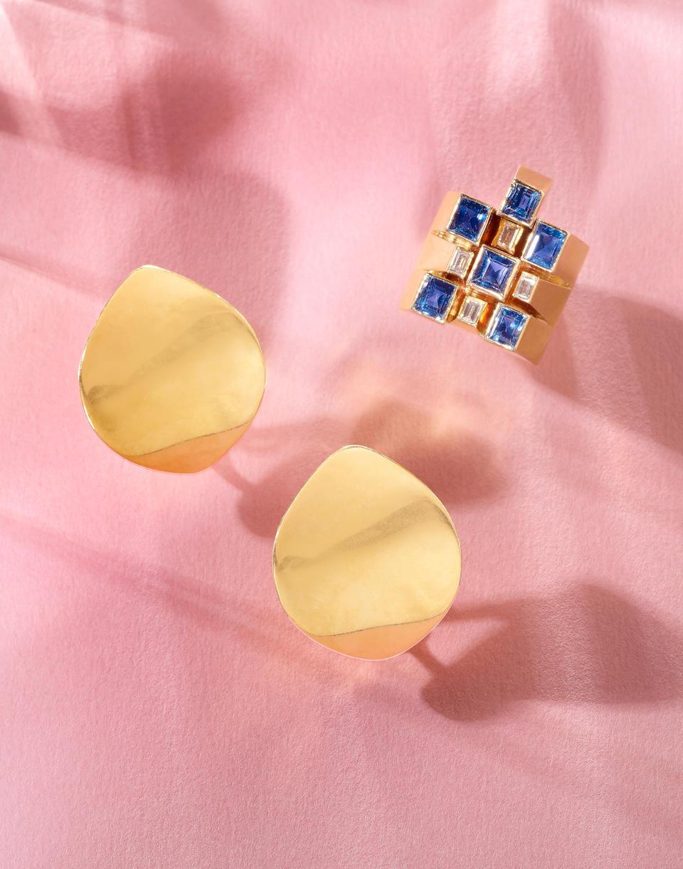 An 18 Karat Gold, Sapphire and Diamond Ring, Georg Jensen