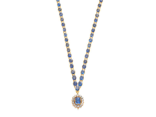 a gold, sapphire and diamond necklace