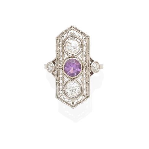 an Art Deco platinum, amethyst and diamond ring