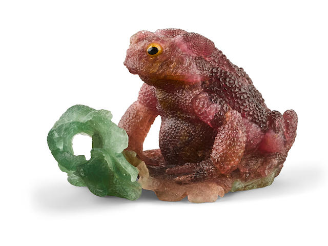 Multi-color Tourmaline Carving of a Toad on a Leaf by Gerd Dreher