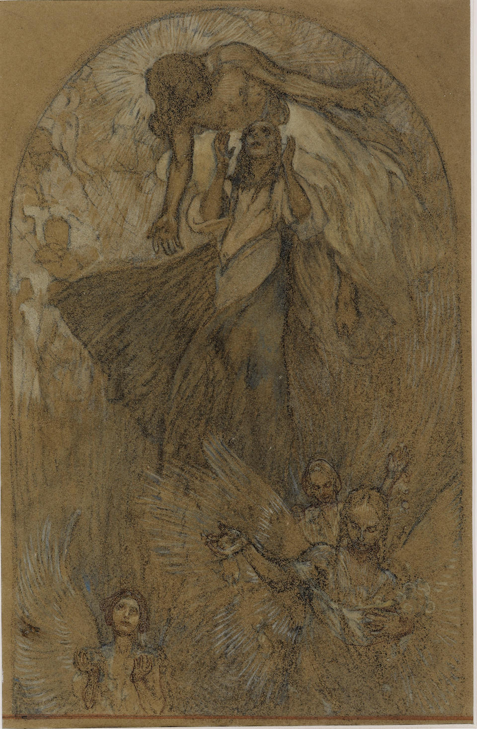 ORIGINAL DRAWING BY ALPHONSE MUCHA. Ascension, design for a mural.