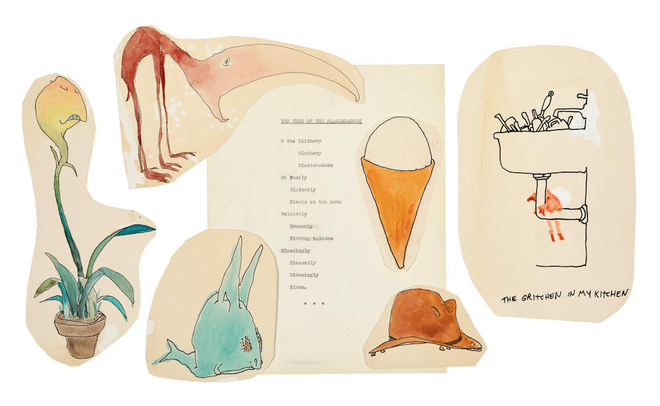 SILVERSTEIN, SHEL. 1930-1999. Archive of 45 original colored watercolor drawings for Uncle Shelby's Zoo: Don't Bump the Glump!