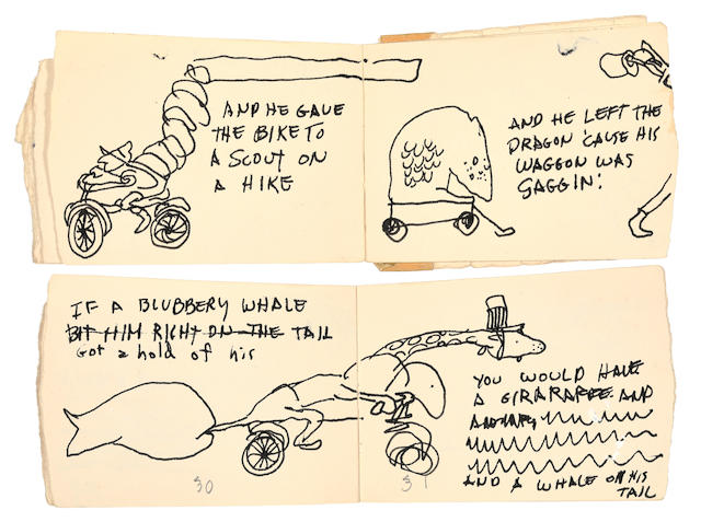 SILVERSTEIN, SHEL. 1930-1999. A Giraffe and a Half. Autograph Manuscript, mock-up with sketches and text for A Giraffe and a Half,