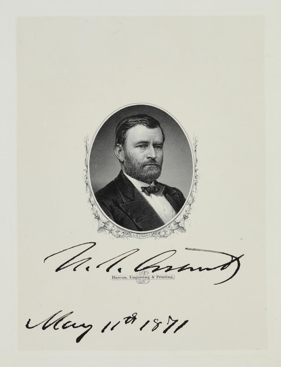 "GRANT, ULYSSES S. 1822-1885. Engraved portrait signed (""U.S. Grant""),"