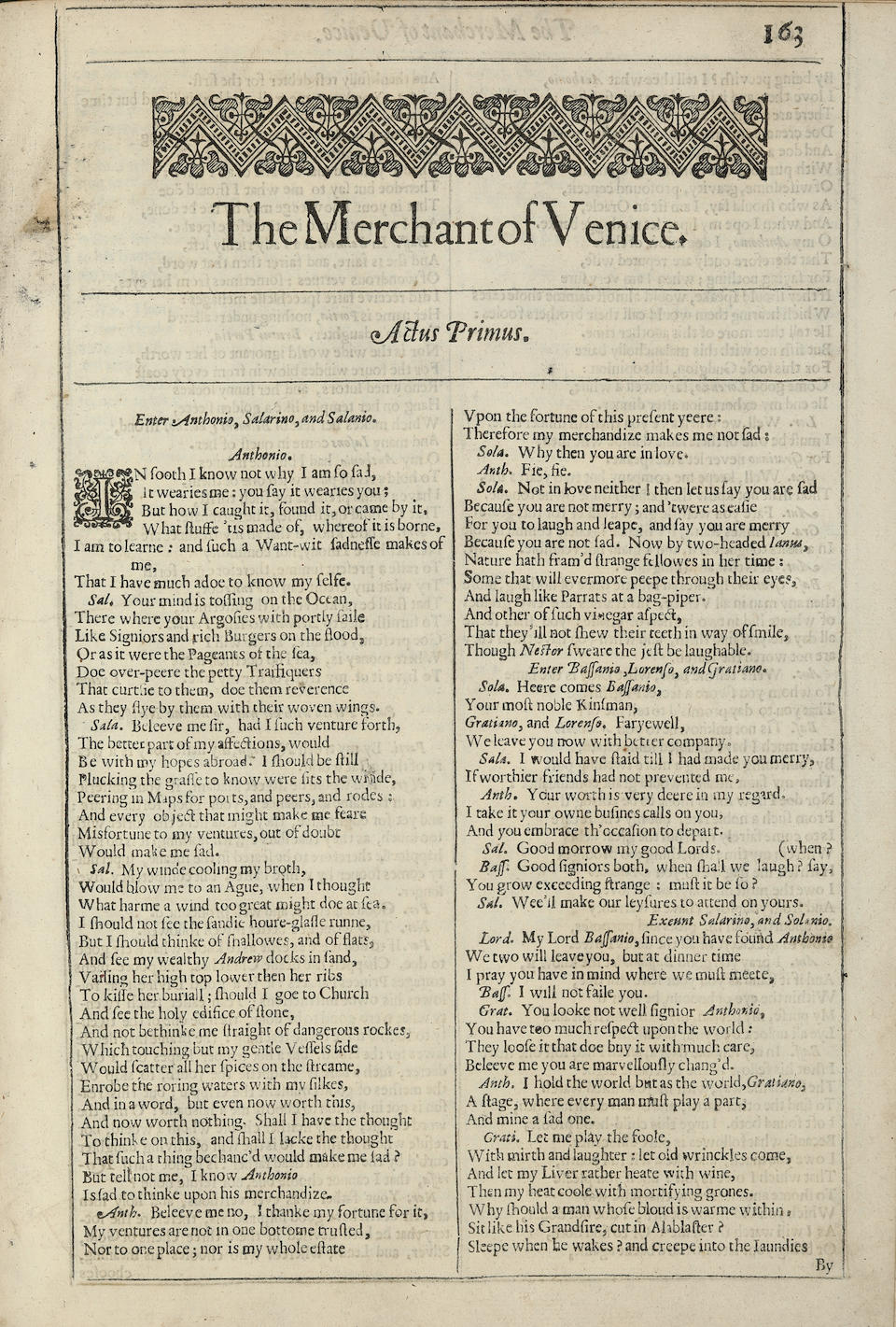 SHAKESPEARE, WILLIAM. The Merchant of Venice. [London: Printed for Thomas Cotes, 1632.]