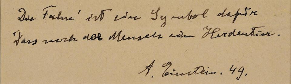 """EINSTEIN, ALBERT. 1879-1955. Autograph Quotation Signed (""""A. Einstein. 49""""), """"Die Fahn' ist ein Symbol dafür dass noch der Mensch ein Herdentier,"""""""