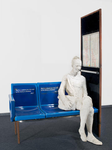 George Segal (1924-2000) Woman on Blue Bus Seat (NYC Map), 1997/1999